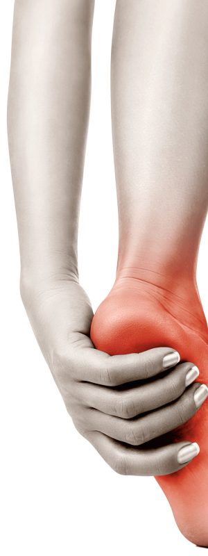 Heel pain in women. Pain concept